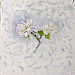 """""""work in progress"""" 4 Natur Ikone Apfelblüten Zweig, Bleistift, Aquarell und Öl auf Leinwand, 30 x 30 cm,"""