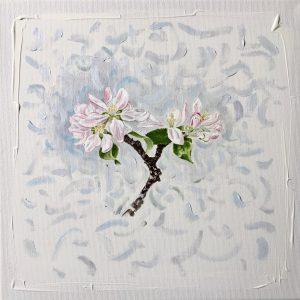 Natur Ikone, Apfel-Blüten-Zweig, Bleistift, Aquarell, Öl und Farbstift auf Leinwand, 30 x 30 cm,