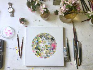 Natur-Ikone, Apfel-Blüten-Farb-Kreis, Arbeitsplatz, 2019